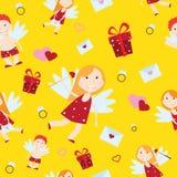 Illustrazione di vettore di stile del fumetto di angelo del cupido di Valentine Day Fotografie Stock