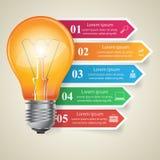 Illustrazione di vettore di stile di origami di Infographics di affari Icona della lampadina Fotografia Stock