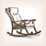 Illustrazione di vettore di stile di schizzo della sedia di oscillazione Immagini Stock