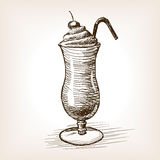 Illustrazione di vettore di stile di schizzo di frappè Fotografia Stock