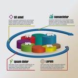 Illustrazione di vettore di stile di sovrapposizione del cilindro del cerchio del infographics di affari Fotografia Stock Libera da Diritti