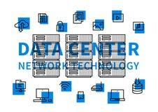 Illustrazione di vettore di tecnologia di rete del centro dati Immagini Stock Libere da Diritti