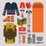 Illustrazione di vettore di trekking e di escursione Immagini Stock