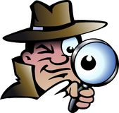 Illustrazione di vettore di un agente investigativo dell'ispettore Fotografie Stock Libere da Diritti