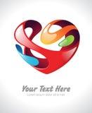 Illustrazione di vettore di un cuore stilizzato variopinto Fotografia Stock Libera da Diritti