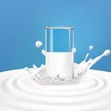 Illustrazione di vettore di un vetro con latte che sta nel centro di una spruzzata della latteria illustrazione vettoriale