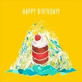 Illustrazione di vettore di una cartolina d'auguri di buon compleanno royalty illustrazione gratis