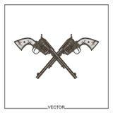 Illustrazione di vettore di vecchi revolver Fotografia Stock Libera da Diritti