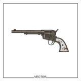 Illustrazione di vettore di vecchio revolver Fotografie Stock