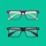 Illustrazione di vettore di vetro, occhiali sulla tavola Immagini Stock Libere da Diritti