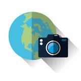 Illustrazione di vettore di viaggio, icona di vettore Fotografie Stock Libere da Diritti