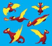 Illustrazione di vettore di Dragon Flying Poses Cute Cartoon Immagine Stock Libera da Diritti