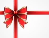 Rosso ed arco del regalo di vettore dell'oro Fotografie Stock Libere da Diritti