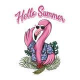 Illustrazione di vettore di estate del fenicottero ciao illustrazione di stock