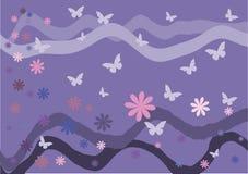 Illustrazione di vettore Farfalle, fiori ed onde su un fondo rosa Immagini Stock