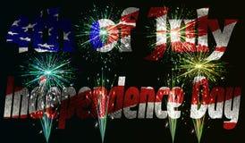 Illustrazione di vettore Festa dell'indipendenza del giorno dell'America il 4 luglio contro lo sfondo della bandiera americana in illustrazione di stock