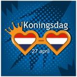 Illustrazione di vettore fondo Koningsdag olandese del 27 aprile, giorno del ` s di re progettazioni per i manifesti, ambiti di p illustrazione vettoriale