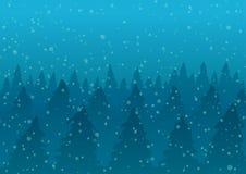 Illustrazione di vettore Foresta di Snowy in nebbia ed in neve di caduta Immagini Stock