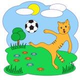 Illustrazione di vettore Gatto con un pallone da calcio Immagini Stock Libere da Diritti