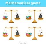 Illustrazione di vettore Gioco di per la matematica per i bambini della scuola e la scuola materna Fotografie Stock Libere da Diritti