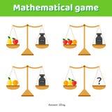 Illustrazione di vettore Gioco di per la matematica per i bambini della scuola e la scuola materna Immagini Stock Libere da Diritti
