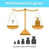 Illustrazione di vettore Gioco di per la matematica per i bambini della scuola e la scuola materna Immagini Stock