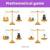 Illustrazione di vettore Gioco di per la matematica per i bambini della scuola e la scuola materna Fotografia Stock Libera da Diritti
