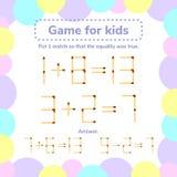 Illustrazione di vettore gioco di per la matematica per i bambini Metta 1 tha del fiammifero così Fotografia Stock