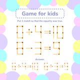 Illustrazione di vettore gioco di per la matematica per i bambini Metta 1 tha del fiammifero così Fotografia Stock Libera da Diritti