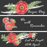 Illustrazione di vettore di giorno di Anzac di un fiore luminoso di rosso del papavero Fotografie Stock