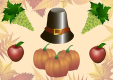 Illustrazione di vettore Giorno di ringraziamento Cappello, zucca, mele del tacchino ed uva su un fondo delle foglie di autunno Immagini Stock