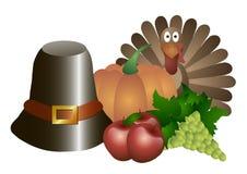 Illustrazione di vettore Giorno di ringraziamento Cappello, zucca, tacchino, mele ed uva isolati su un fondo bianco Immagini Stock