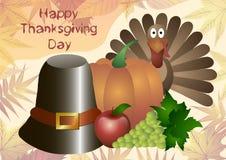 Illustrazione di vettore Giorno di ringraziamento Cappello, zucca, tacchino, mele ed uva isolati su un fondo delle foglie di autu Immagini Stock Libere da Diritti