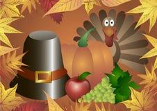Illustrazione di vettore Giorno di ringraziamento Cappello, zucca, tacchino, mele ed uva nel telaio delle foglie di autunno Immagini Stock