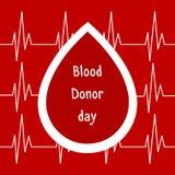Illustrazione di vettore Giorno June-14 del donatore di sangue del mondo Concetto di donazione di sangue con goccia Campagna glob Fotografie Stock Libere da Diritti