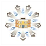 Illustrazione di vettore Grafici dell'attività Infographics: Prestiti bancari come flusso di cassa Immagini Stock Libere da Diritti