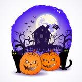 Illustrazione di vettore di Halloween con le teste delle zucche Immagine Stock