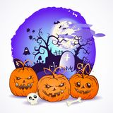 Illustrazione di vettore di Halloween con le teste delle zucche Fotografie Stock