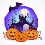 Illustrazione di vettore di Halloween con le teste delle zucche Fotografia Stock