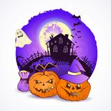 Illustrazione di vettore di Halloween con le teste delle zucche Fotografia Stock Libera da Diritti