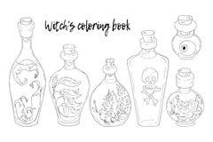 Illustrazione di vettore Halloween Il calderone della strega, cranio, foglie, zucca, funghi Fotografia Stock