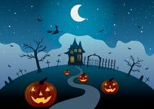 Illustrazione di vettore Halloween La strada alla casa sulla collina, fra le zucche ed il cimitero Fotografia Stock Libera da Diritti