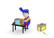 Illustrazione di vettore il supervisore la TV di riparazione. Fotografie Stock Libere da Diritti