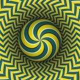 Illustrazione di vettore di illusione ottica Sfera a spirale multipla che sale sopra la superficie eterogenea Oggetti modellati g Fotografia Stock