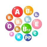 Illustrazione di vettore Infographics cerchio Vitamine, minerali, n immagini stock