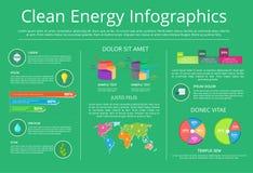 Illustrazione di vettore di Infographics dell'energia pulita royalty illustrazione gratis