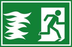 Illustrazione di vettore - inforni il segno dell'uscita di sicurezza, depressione d'evasione delle fiamme della persona una porta Fotografia Stock