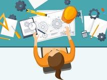 Illustrazione di vettore Ingegneria ed architettura Disegno, costruzione Progetto architettonico Progettazione, schizzante illustrazione di stock