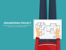 Illustrazione di vettore Ingegneria ed architettura Disegno, costruzione Progetto architettonico Progettazione, schizzante royalty illustrazione gratis