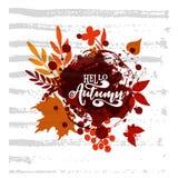 Illustrazione di vettore Insegna della stagione di autunno Cartolina d'auguri con il manifesto moderno di autunno dell'iscrizione illustrazione vettoriale